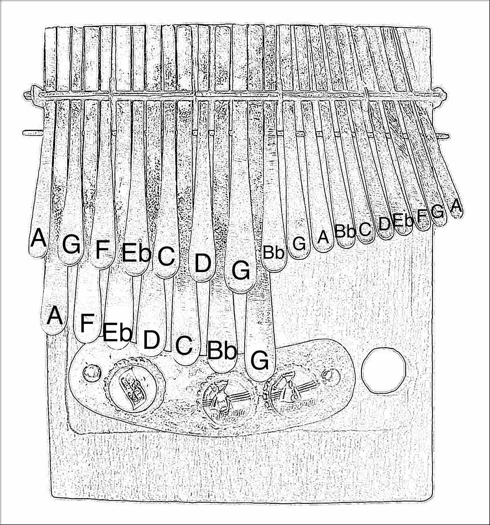Tuning outline diagram Mavembe mbira in G