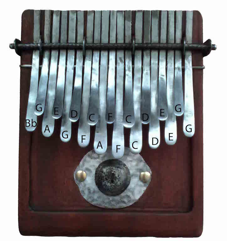 Tuning of 19-key kalimba nyunga nyunga thumb piano in F major