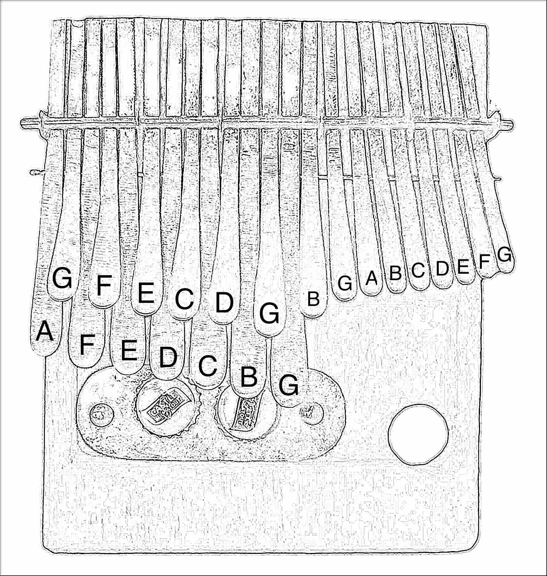 Tuning diagram of the Mbira dza vadzimu in G